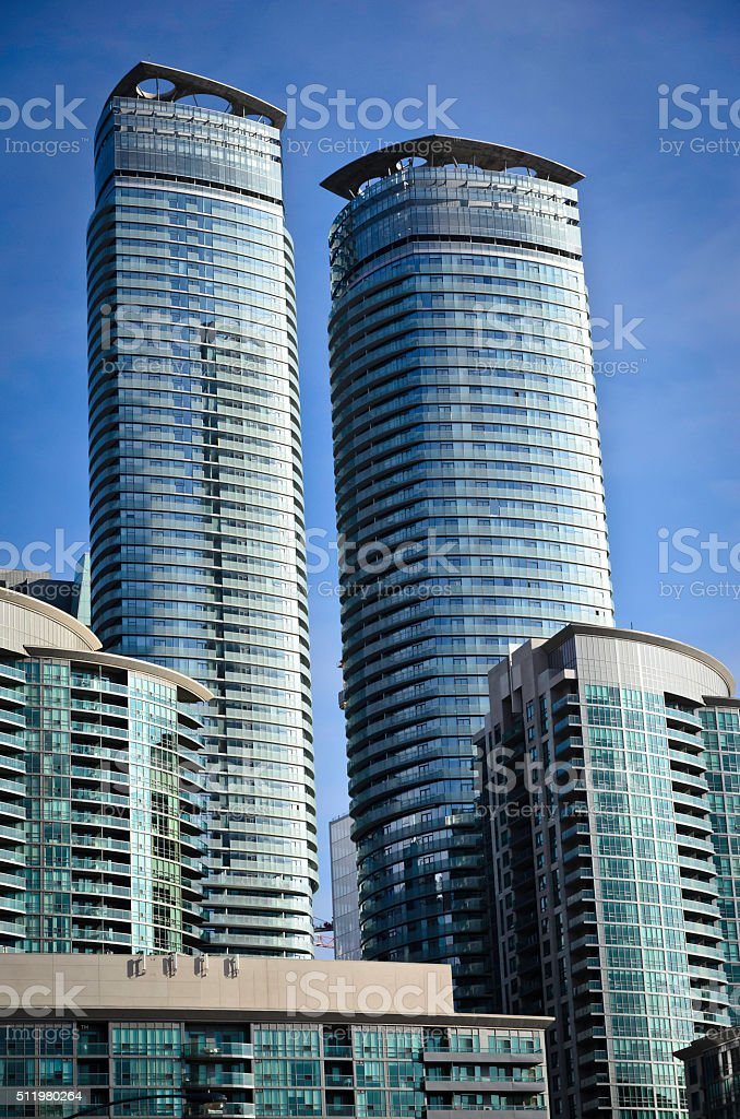 Modern condominium towers in the late afternoon light royalty-free stock photo