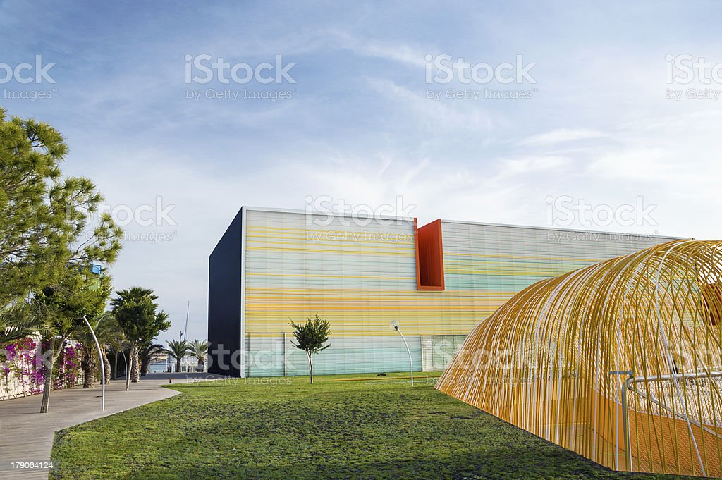Modern Conference Hall and Auditorium in Cartagena, Spain stock photo