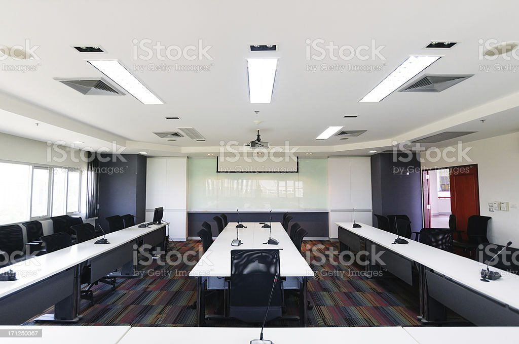Modern conference room interior stock photo