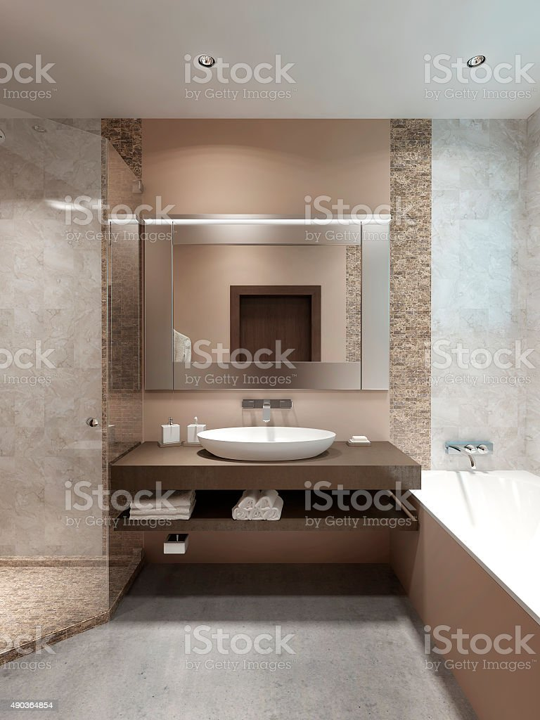 Modern console with sink, in the bathroom. stock photo