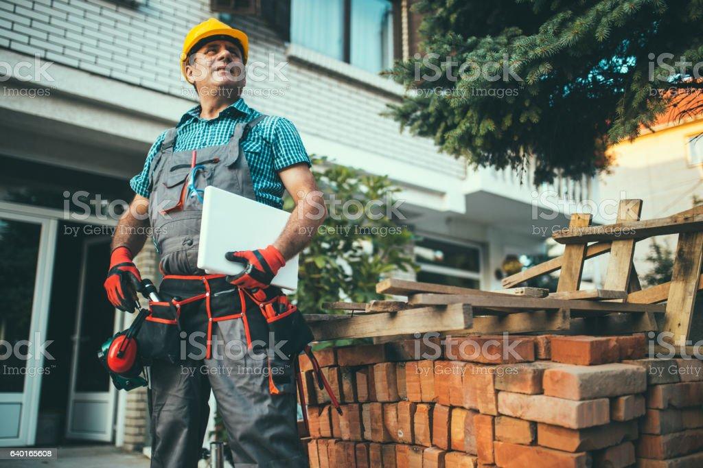 Modern construction worker stock photo