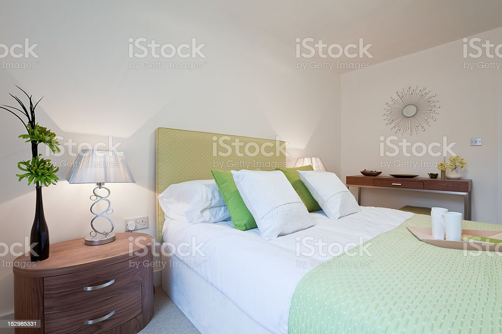 Modern contemporary bedroom royalty-free stock photo