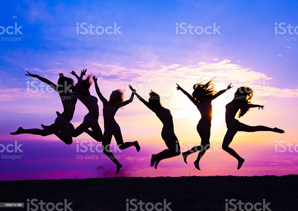 modern contemporary dancers jumping royalty-free stock photo