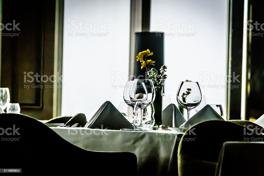 modern contemporary High class fine dining restaurant interior stock photo