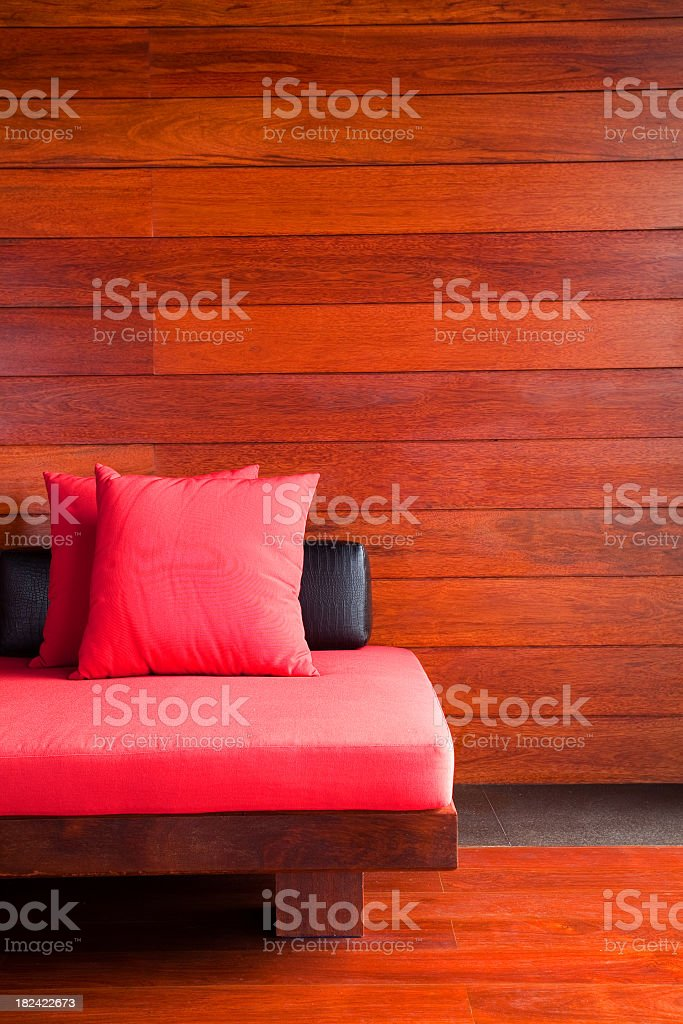 Modern contemporary lobby with red pillows on furniture royalty-free stock photo