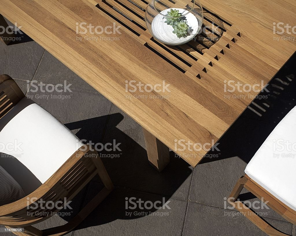 Modern Contemporary Outdoor Dining Table stock photo