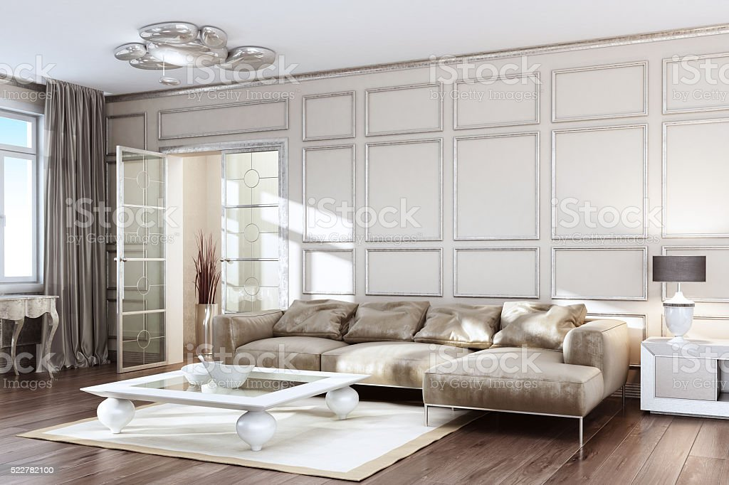 Modern Contemporary Silver Living Room stock photo