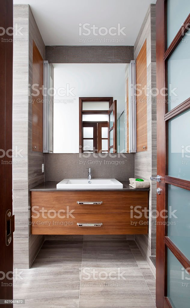Modern Contemporary style bathroom sink stock photo