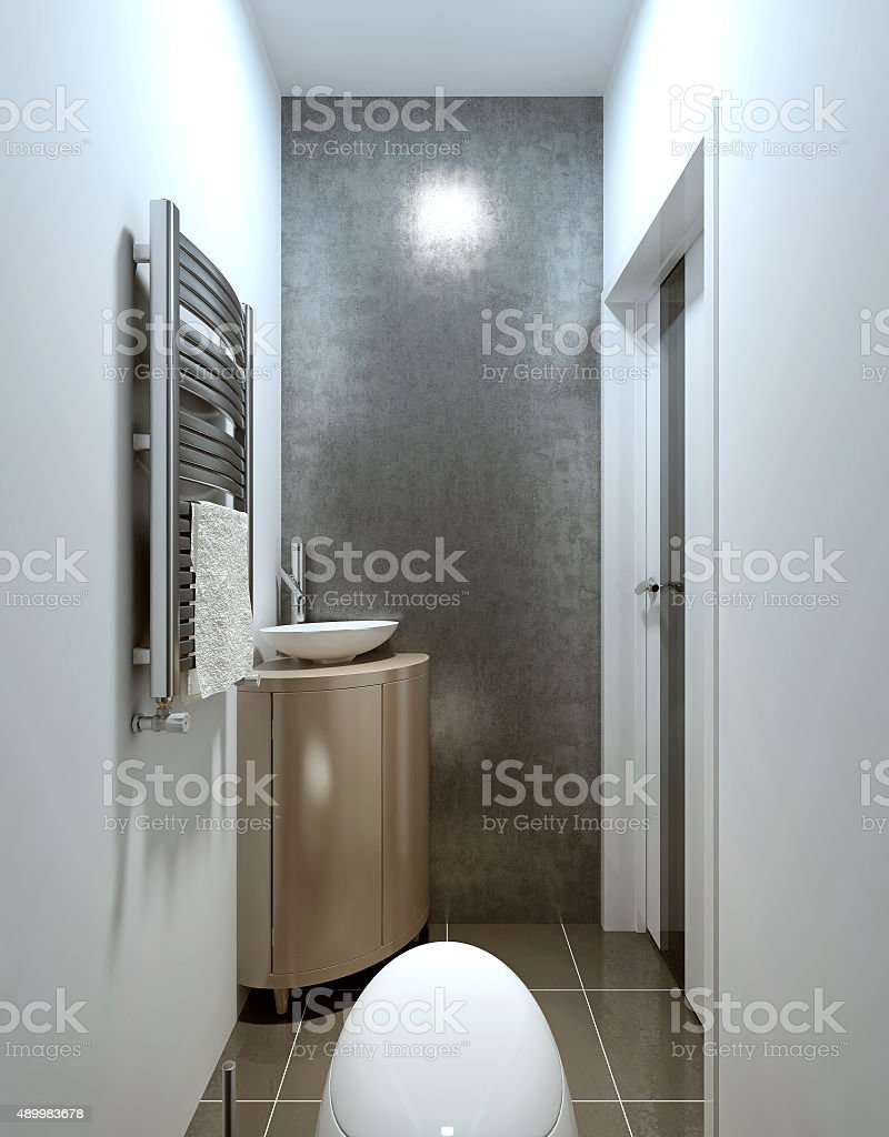 Modern Contemporary style toilet, gray and beige. stock photo