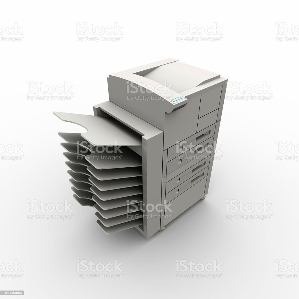 A modern copy machine with many trays for office use  royalty-free stock photo