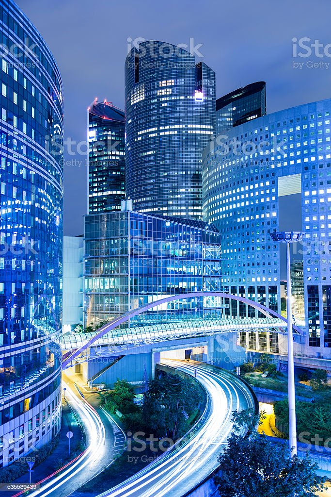 Modern Corporate Buildings in Financial District La Defense at Dusk stock photo