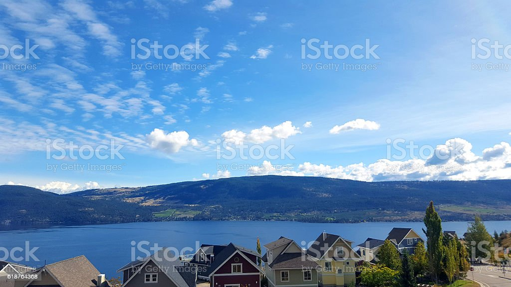 Modern Cottages On The Lake stock photo