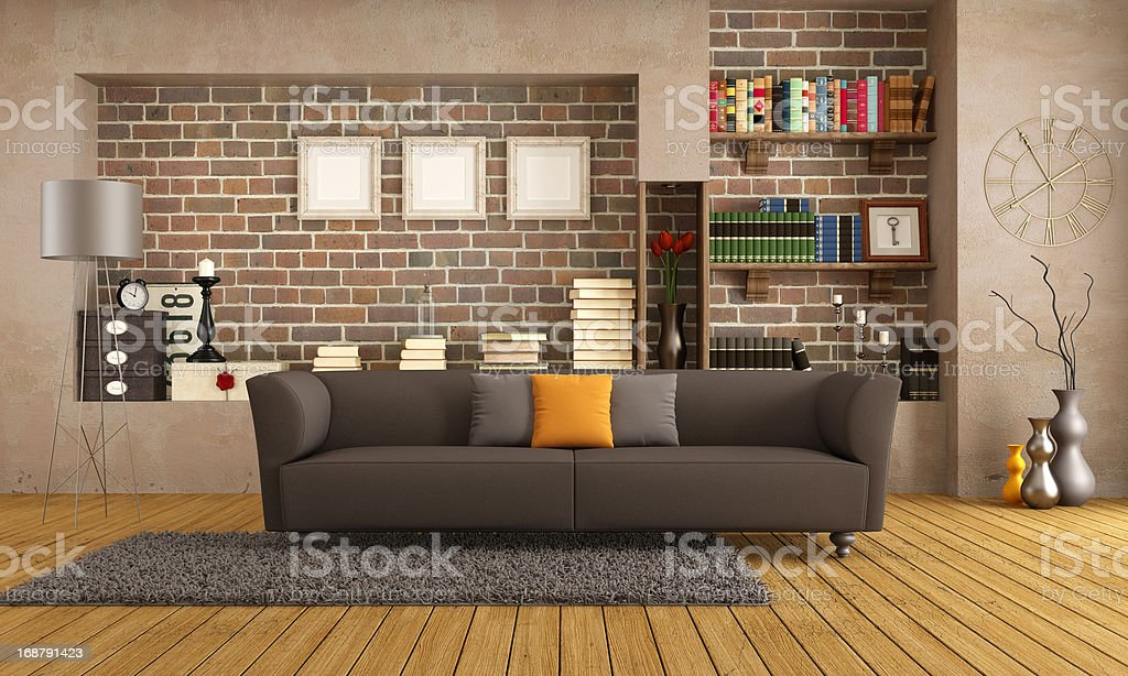Modern couch in a vintage living room stock photo