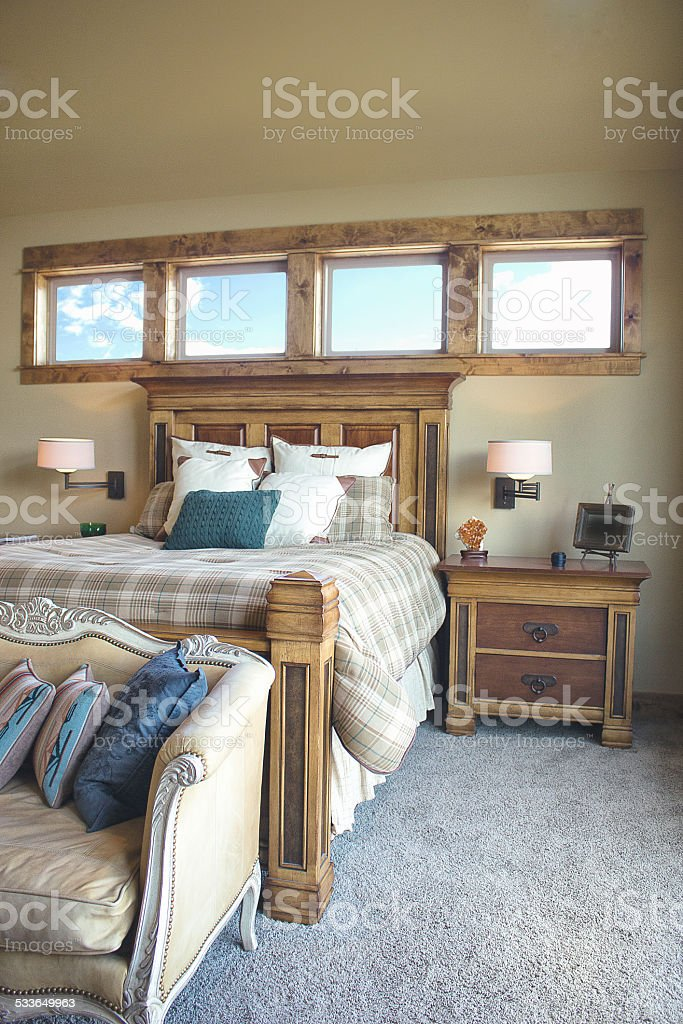 Modern Country Style Bedroom stock photo