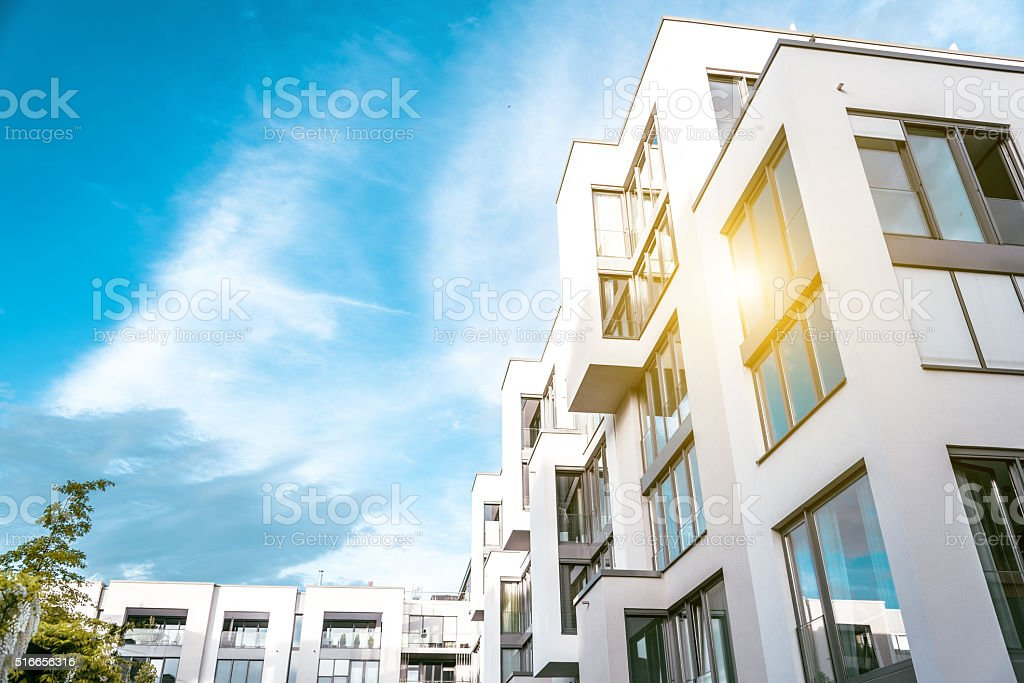 modern cubic residential building in berlin stock photo