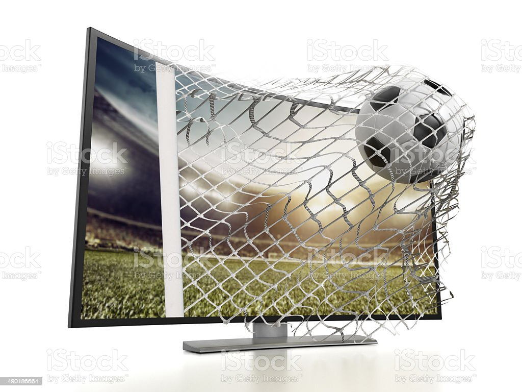 Modern curved 3D TV stock photo
