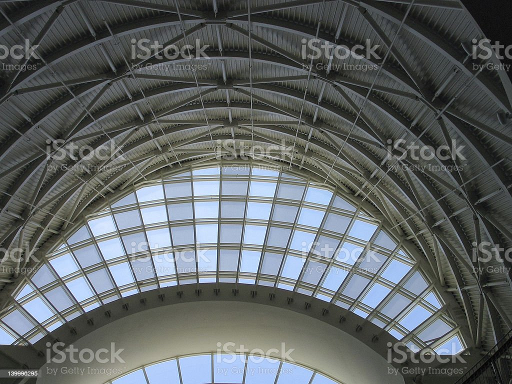 Modern curved arch window and ceiling indoor royalty-free stock photo