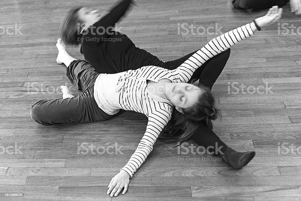 Modern dance classroom: floor action royalty-free stock photo