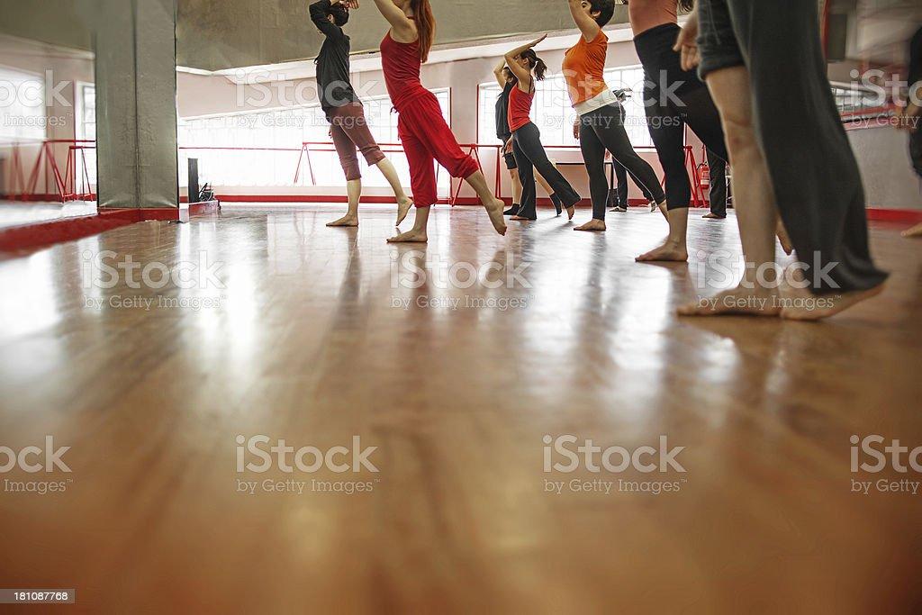 Modern dance classroom: legs royalty-free stock photo
