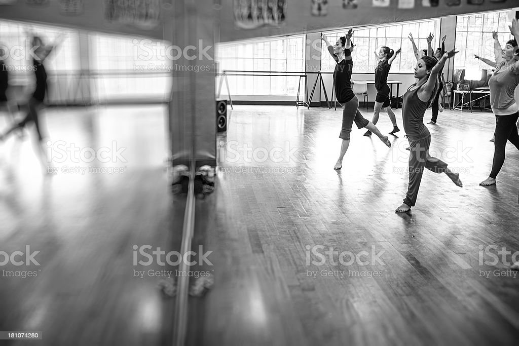 Modern dance classroom: strike a pose royalty-free stock photo
