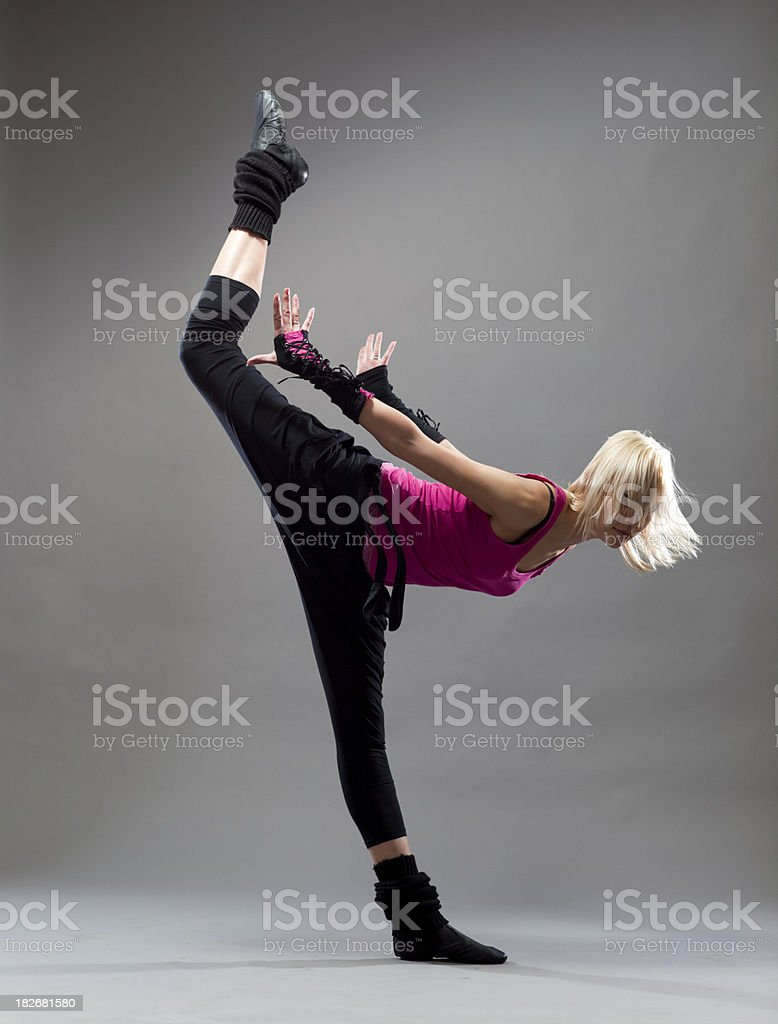 Modern Dancer on gray  background royalty-free stock photo