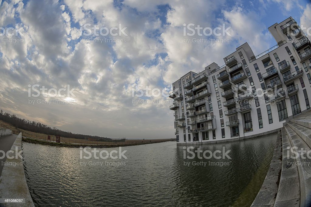Modern danish architecture in glass and steel, Amager, Copenhagen, Denmark stock photo