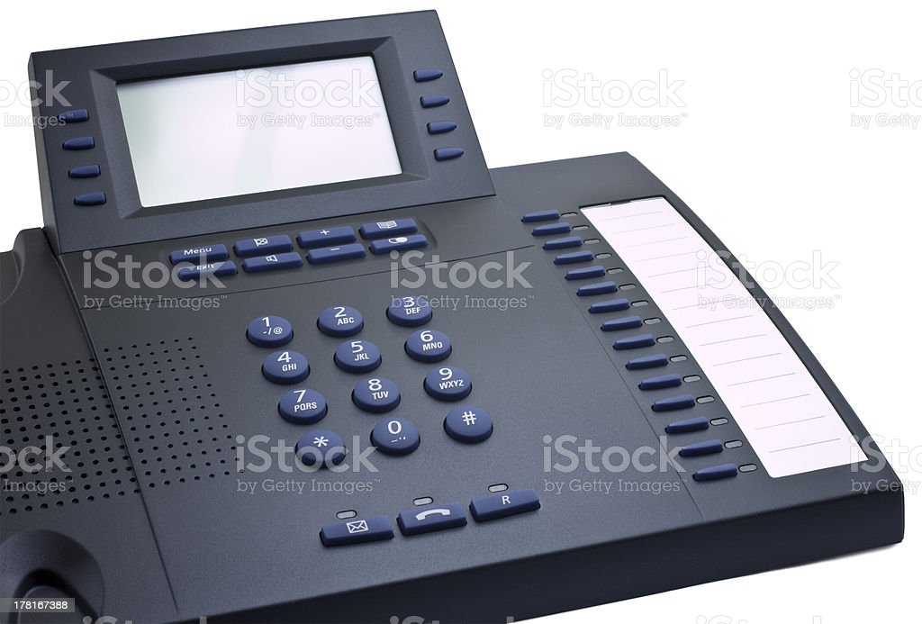Modern dark telephone with copy space royalty-free stock photo