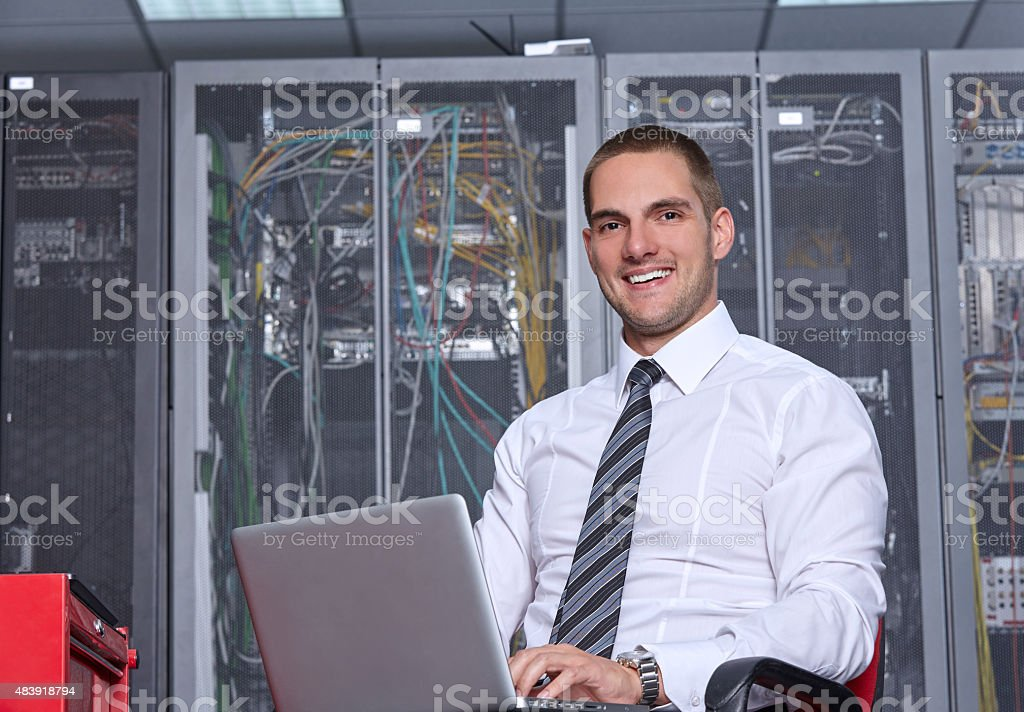 modern datacenter server room stock photo