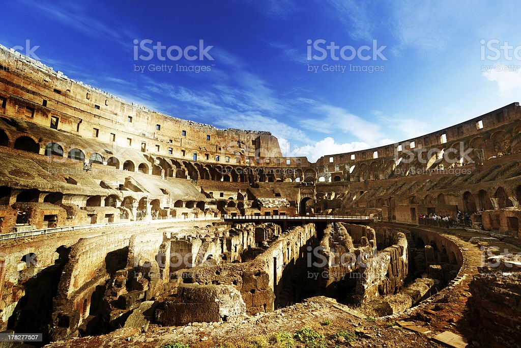 Modern day interior of Colosseum in Rome Italy stock photo
