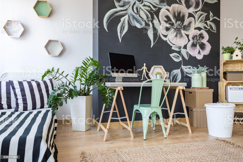 Modern decor of bedroom stock photo