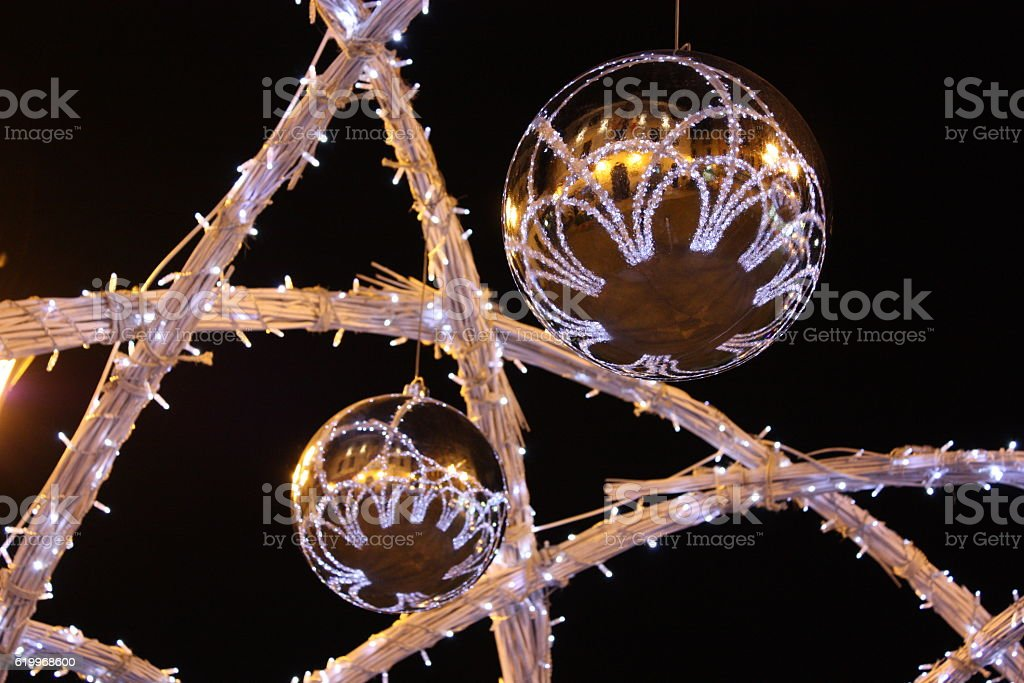Modern decorated Christmas tree stock photo