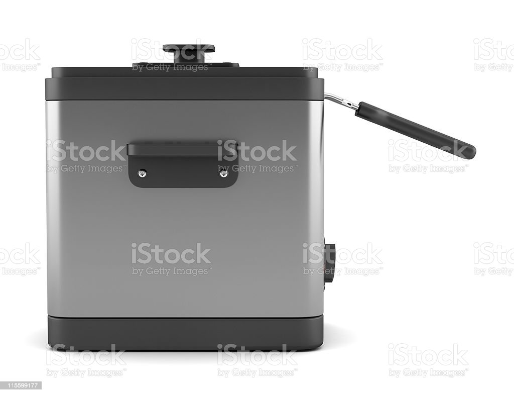 modern deep fryer isolated on white background royalty-free stock photo