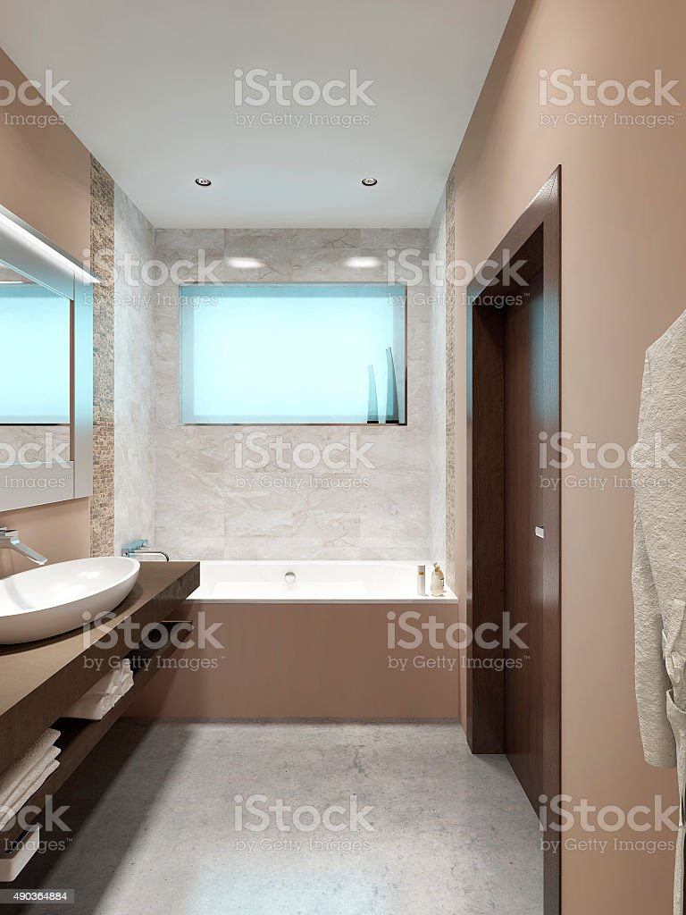 Modern design bathrooms with a small window. stock photo