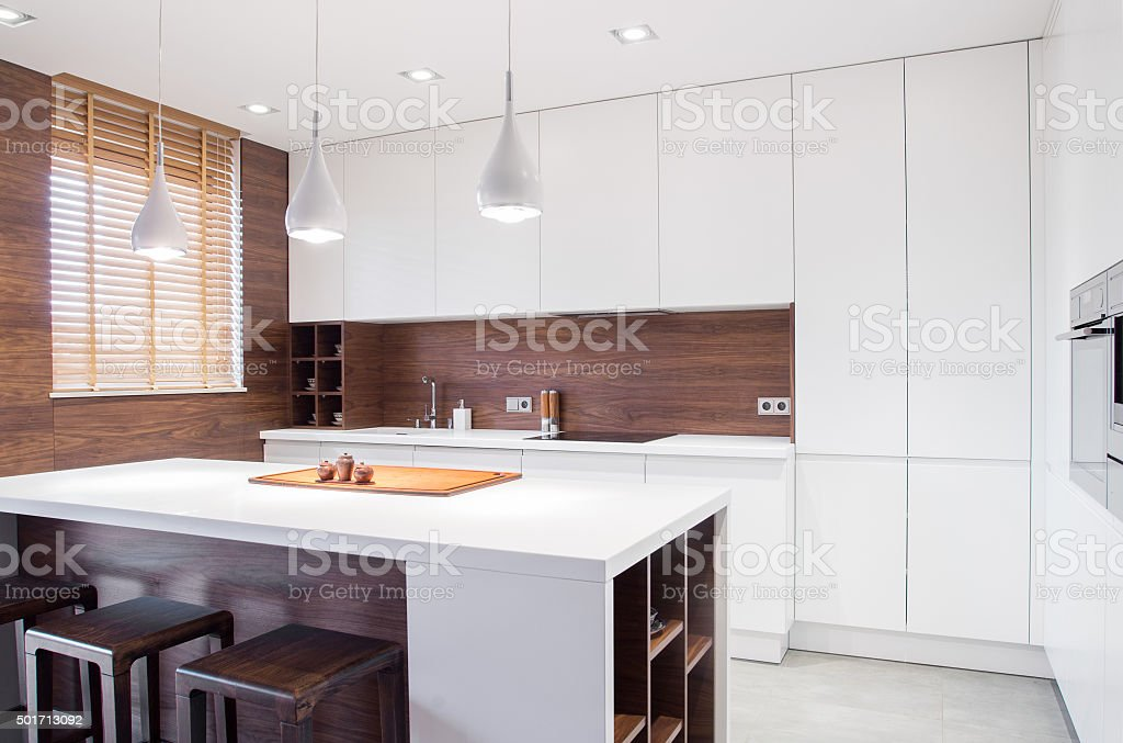 Modern design kitchen interior stock photo