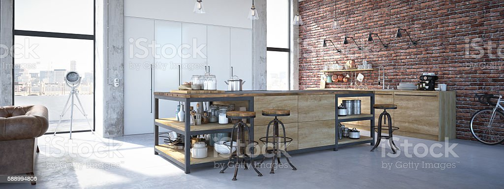 Modern Design Luxurious Kitchen Interior. 3d rendering stock photo