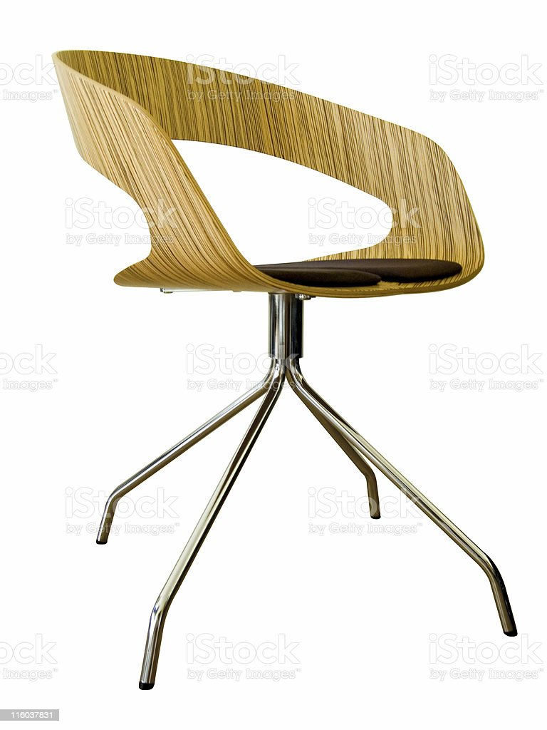 Modern design wooden chair with metal legs royalty-free stock photo