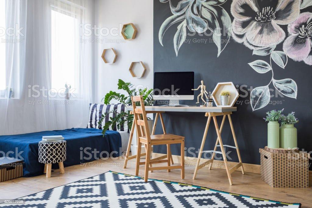 Modern designed bedroom stock photo