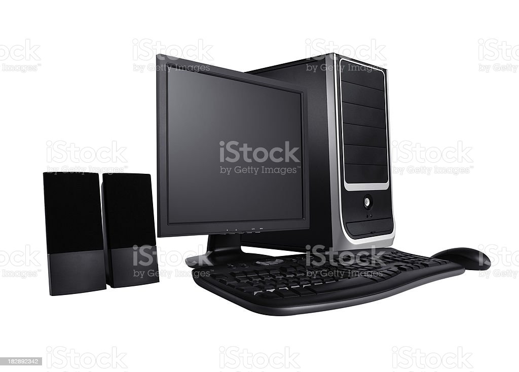 Modern desktop computer with wireless keyboard and mouse royalty-free stock photo