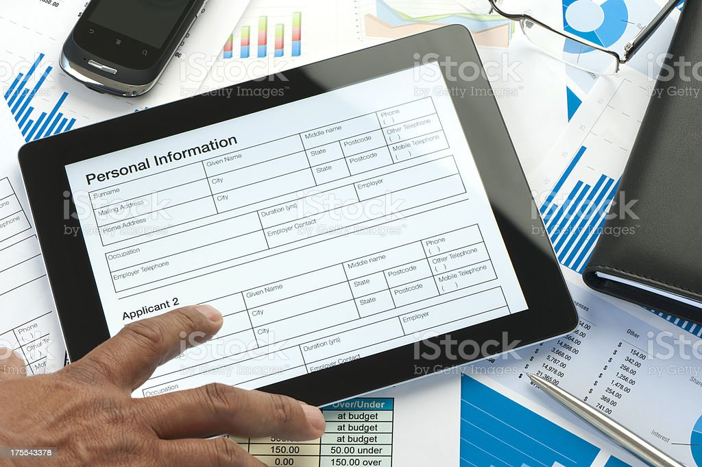 Modern desktop showing online application form stock photo