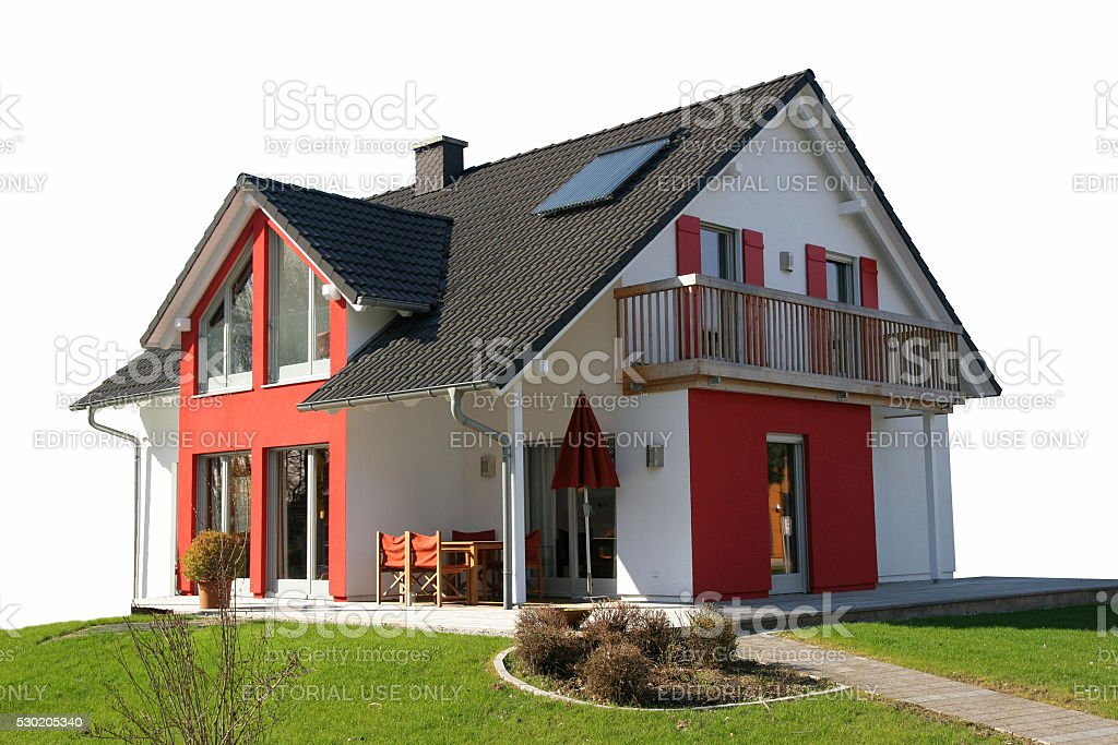 Modern detached house to be sold stock photo