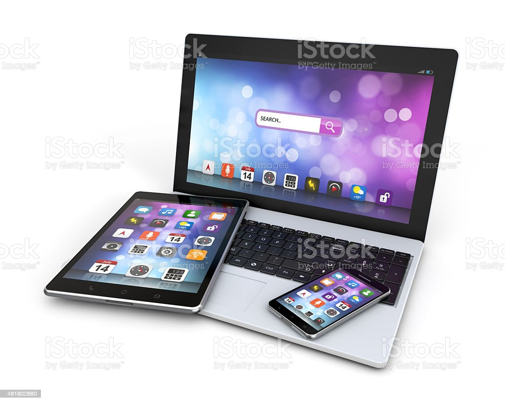 modern devices laptop, smartphone, tablet stock photo