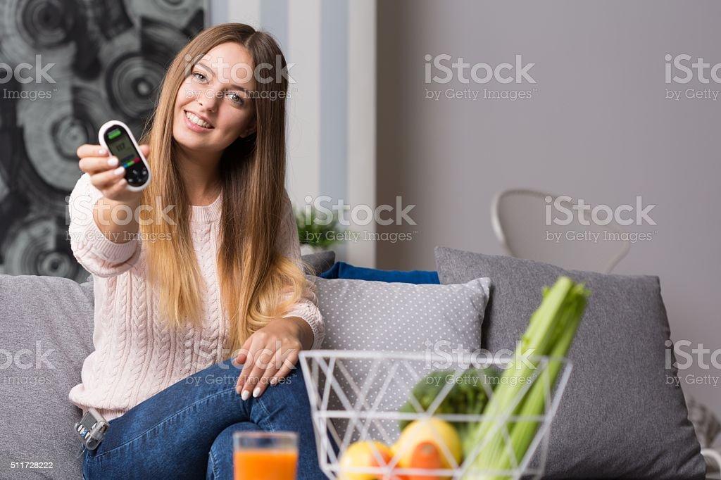 Modern diabetic girl stock photo
