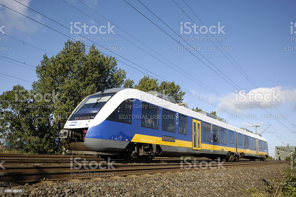 Modern diesel engined local traffic train stock photo