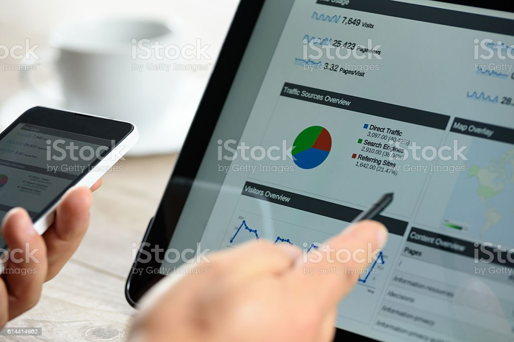 Modern digital marketing on the tablet stock photo