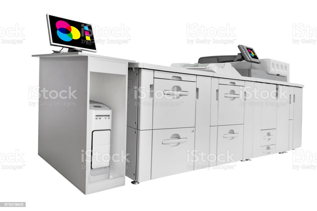 Modern Digital printing machine isolated on white. Clipping path included in file stock photo