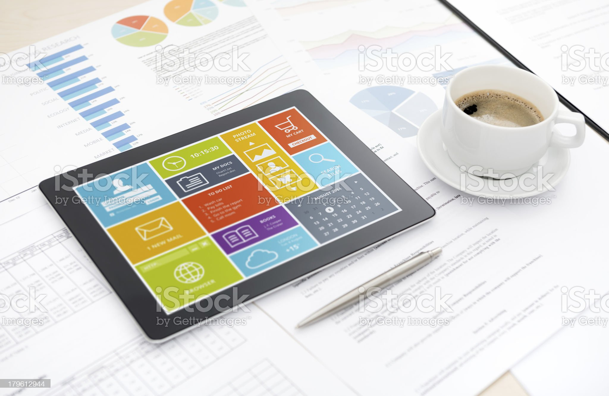 Modern digital tablet on office desk royalty-free stock photo