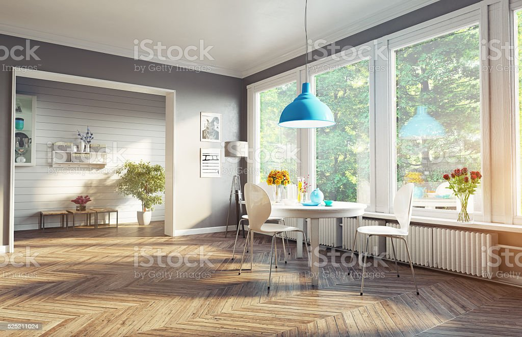 modern dining room stock photo