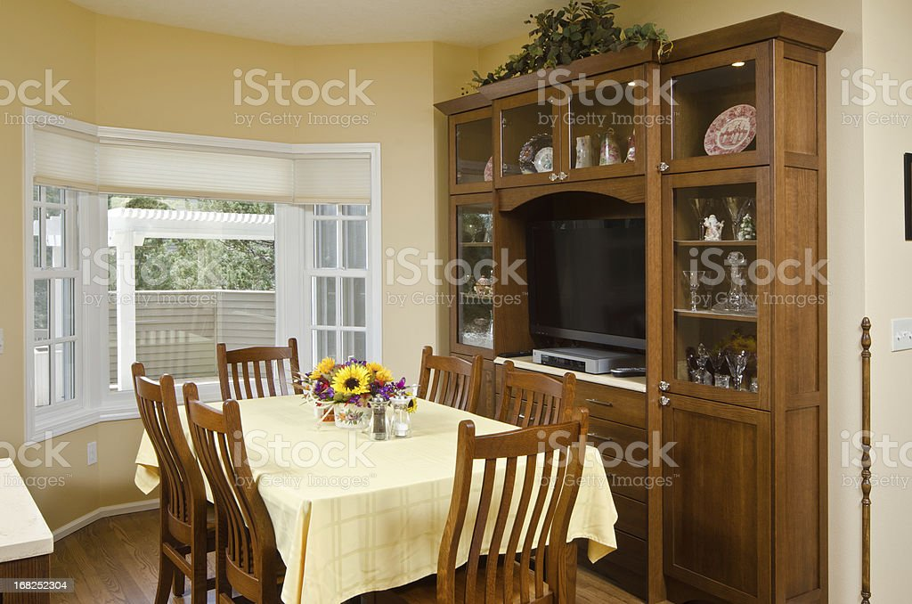 Modern dining room with China cabinet stock photo