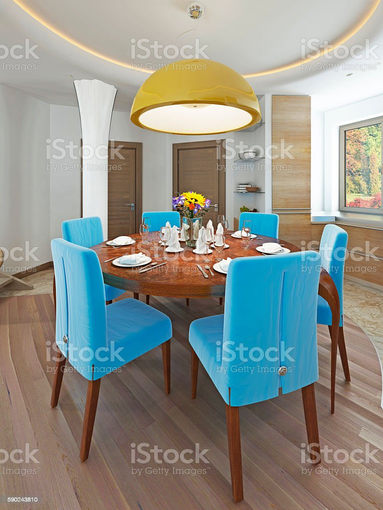 Modern dining room with kitchen in a trendy style kitsch. stock photo