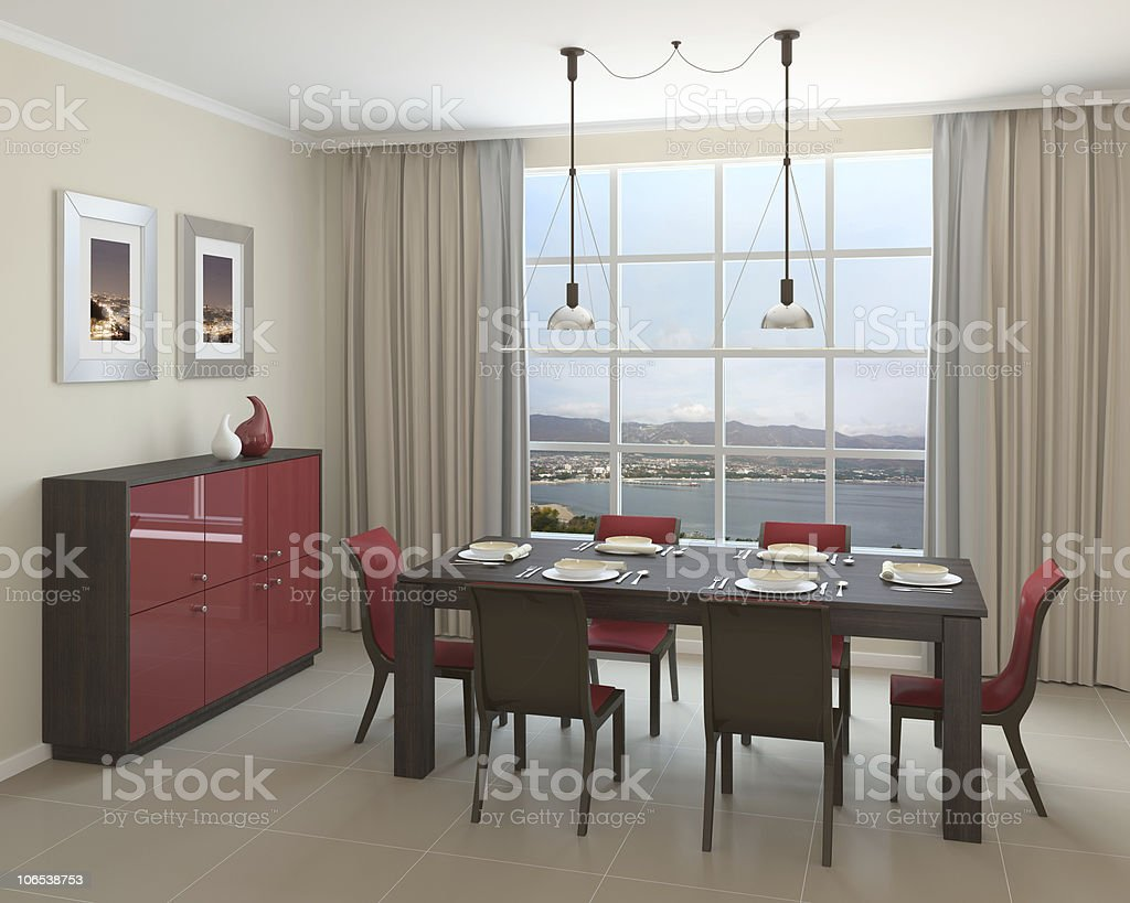 Modern dining-room. royalty-free stock photo